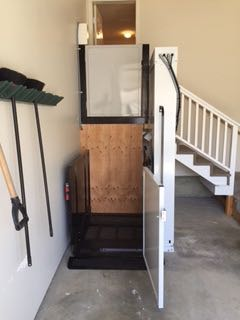 Powell River wheelchair lift after installation down
